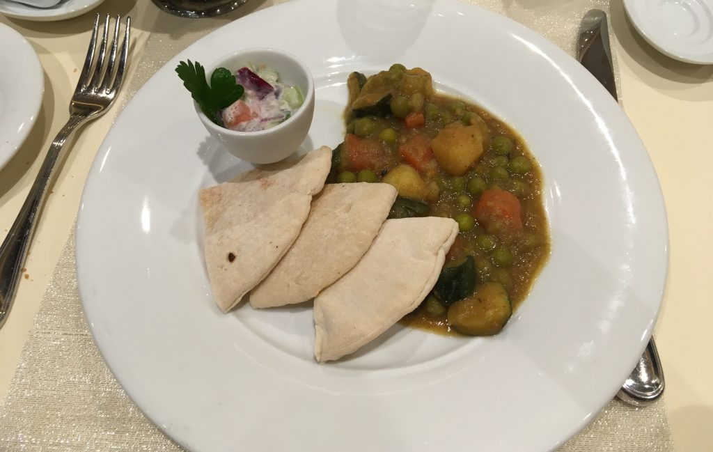 msc meraviglia food main dining room vegetable curry vegan