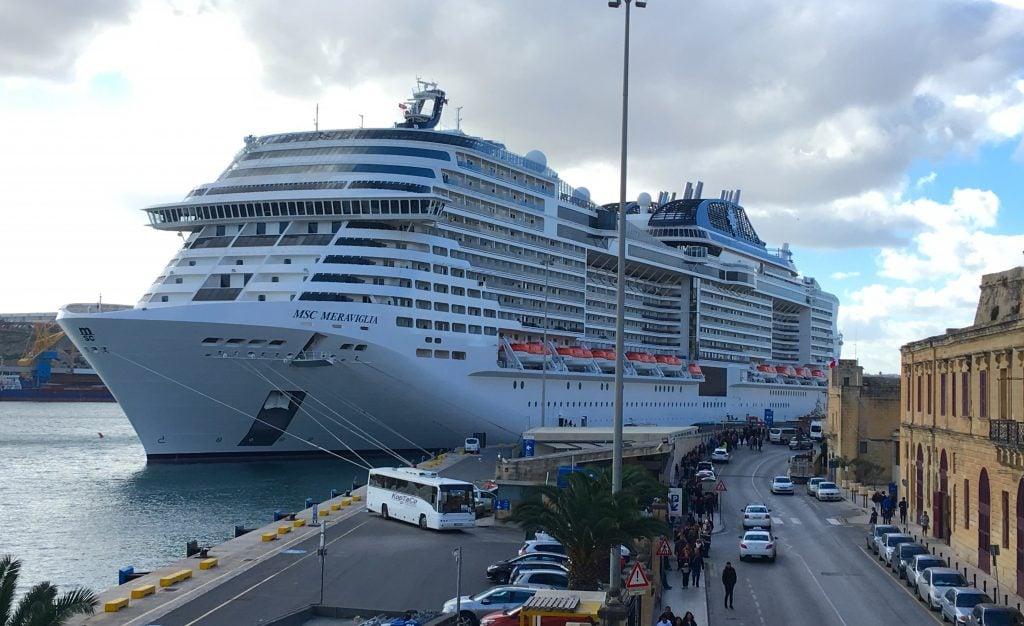MSC Meraviglia in Malta Valletta cruise ship view