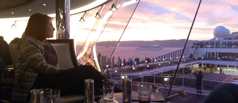 msc meraviglia sky lounge sunset cruise ship girl