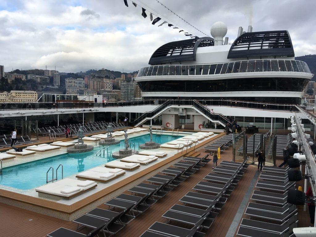 msc meraviglia top deck swimming pools sunbeds loungers