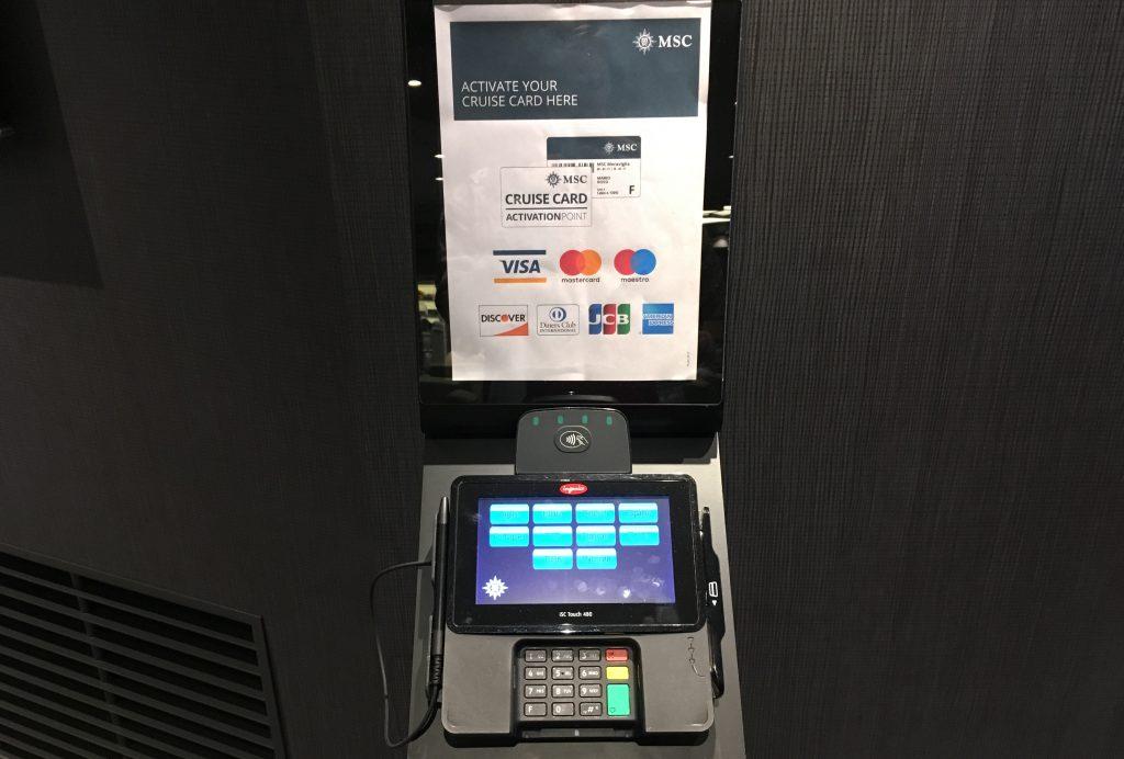 msc activate card onboard machine credit debit card