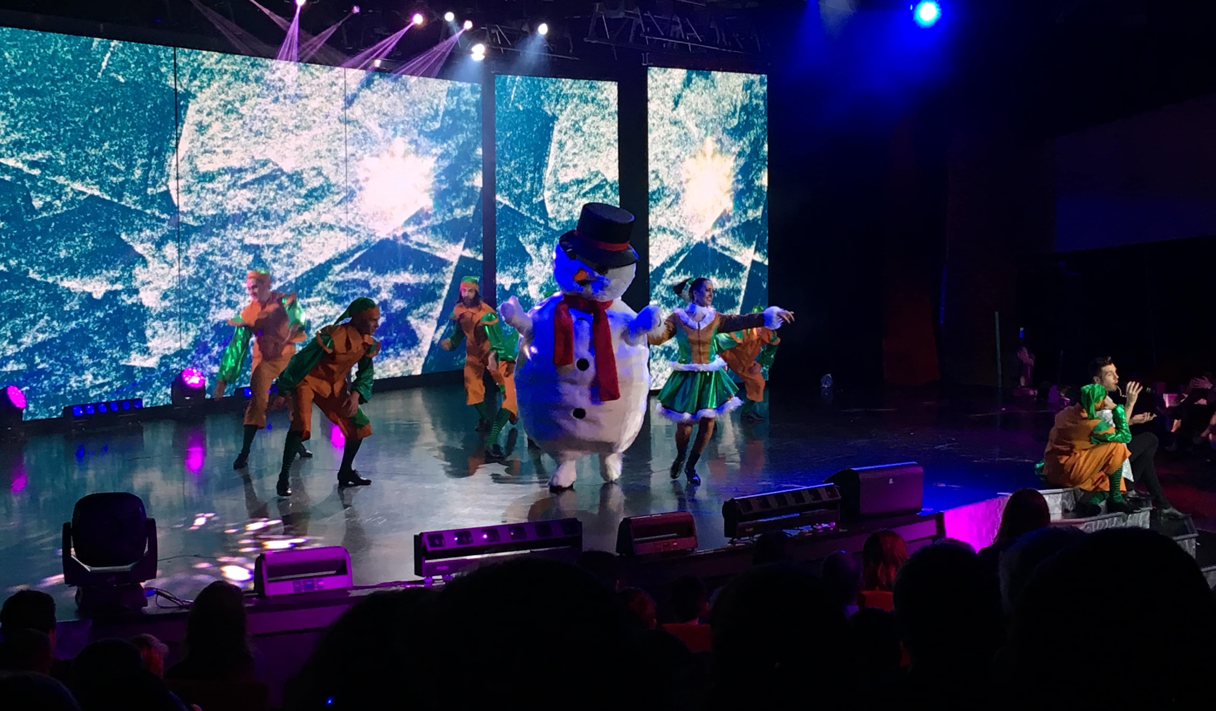 MSC theatre show christmas dancing elves and snowman