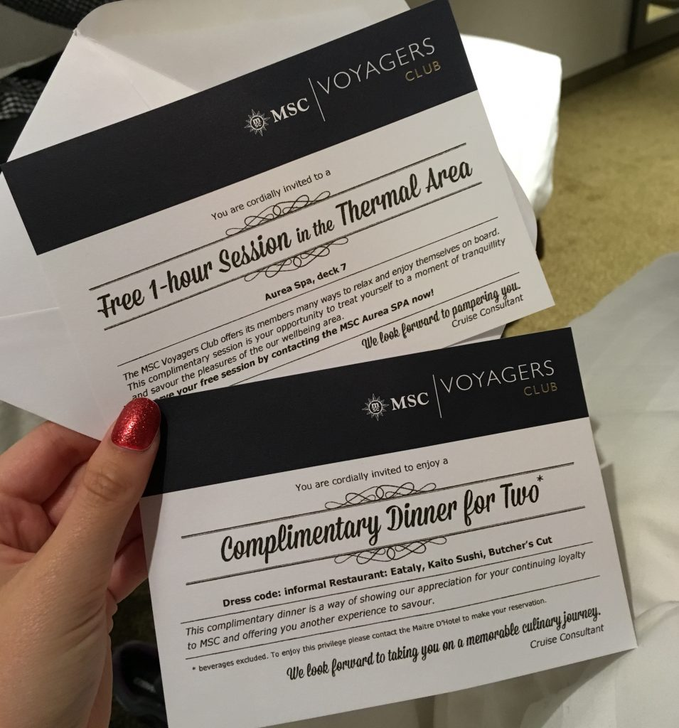 msc meraviglia voyagers club benefits cards