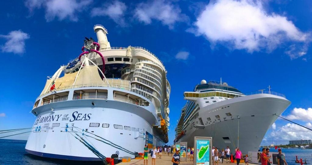 harmony of the seas celebrity silhouette side by side cruise ships caribbean