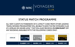 msc status match black voyagers perks