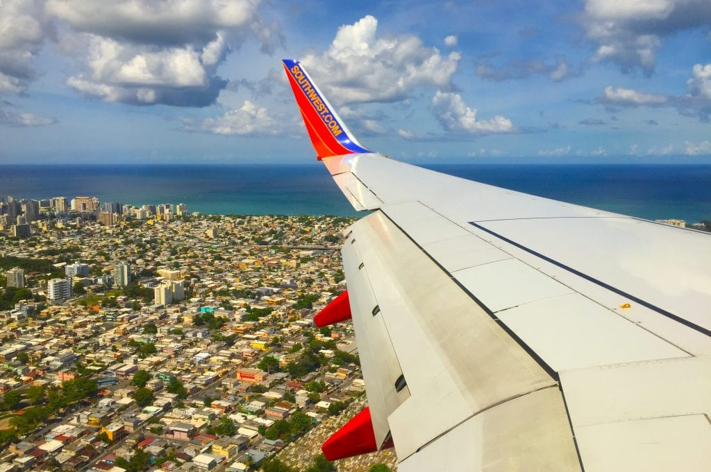 southwest airline wing view