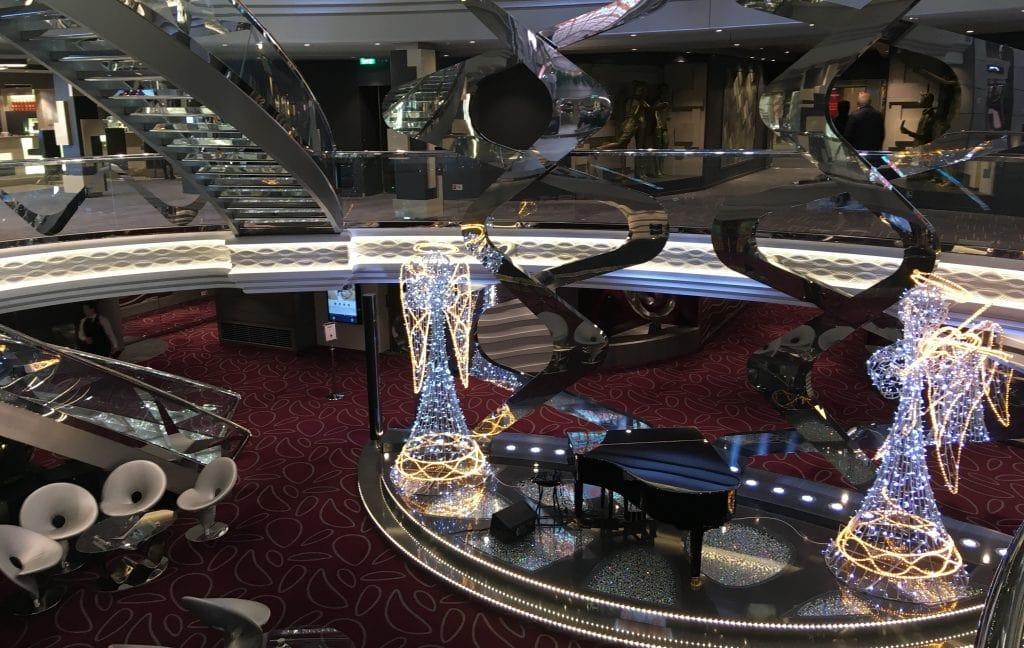 msc meraviglia christmas cruise decorations atrium piano angels sparkles