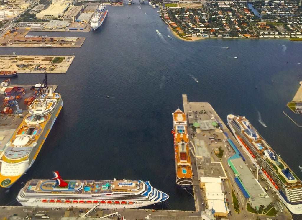 fort lauderdale florida cruise ship sky view ports