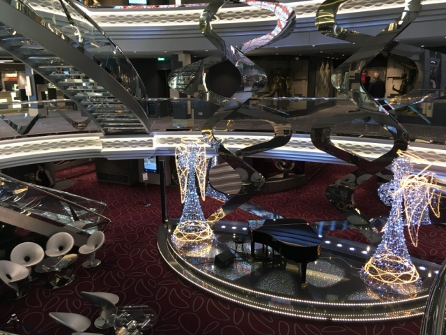 msc meraviglia atrium  angels christmas piano staircases