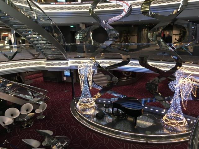 msc meraviglia atrium  angels christmas piano staircases