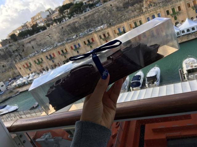 msc meraviglia chocolate cruise ship valletta malta in the background