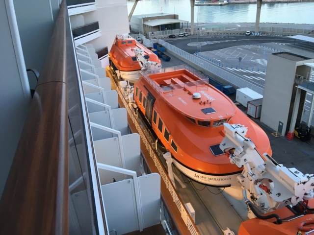 msc meraviglia lifeboats view from mid ship balcony