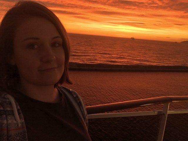 emma cruises sunset on cruise ship
