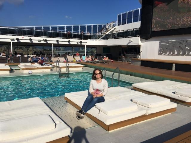 emma cruises msc meraviglia sun lounger swimming pool top deck