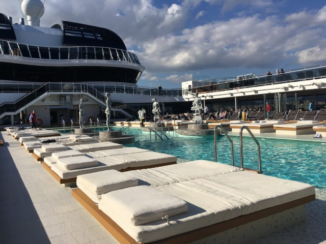 msc meraviglia top deck sun loungers swimming pool