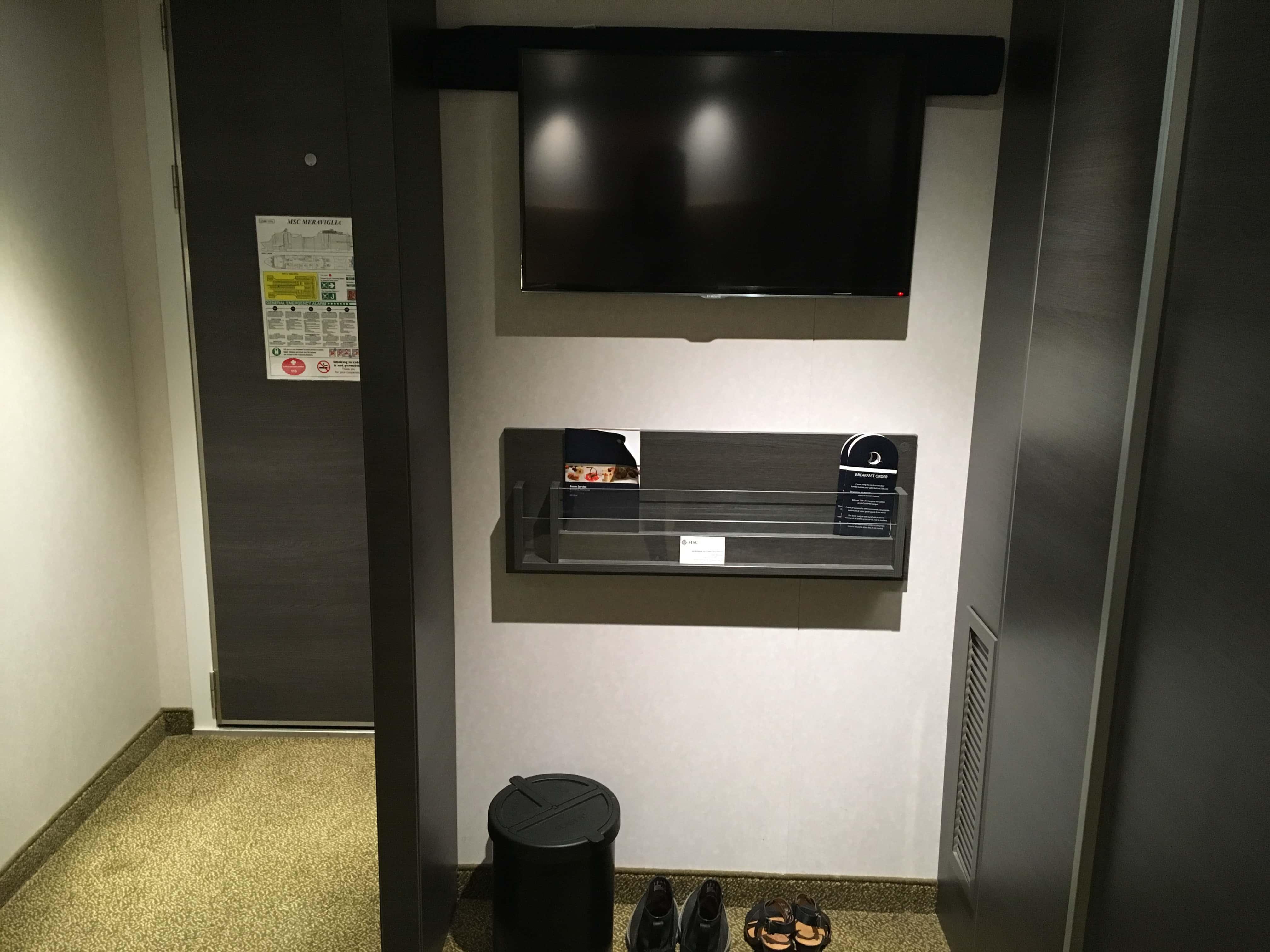 msc meraviglia inside cabin  TV bin door