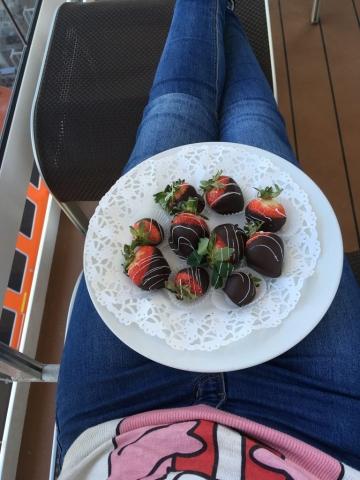 chocolate strawberries on the balcony! msc meraviglia christmas jumper