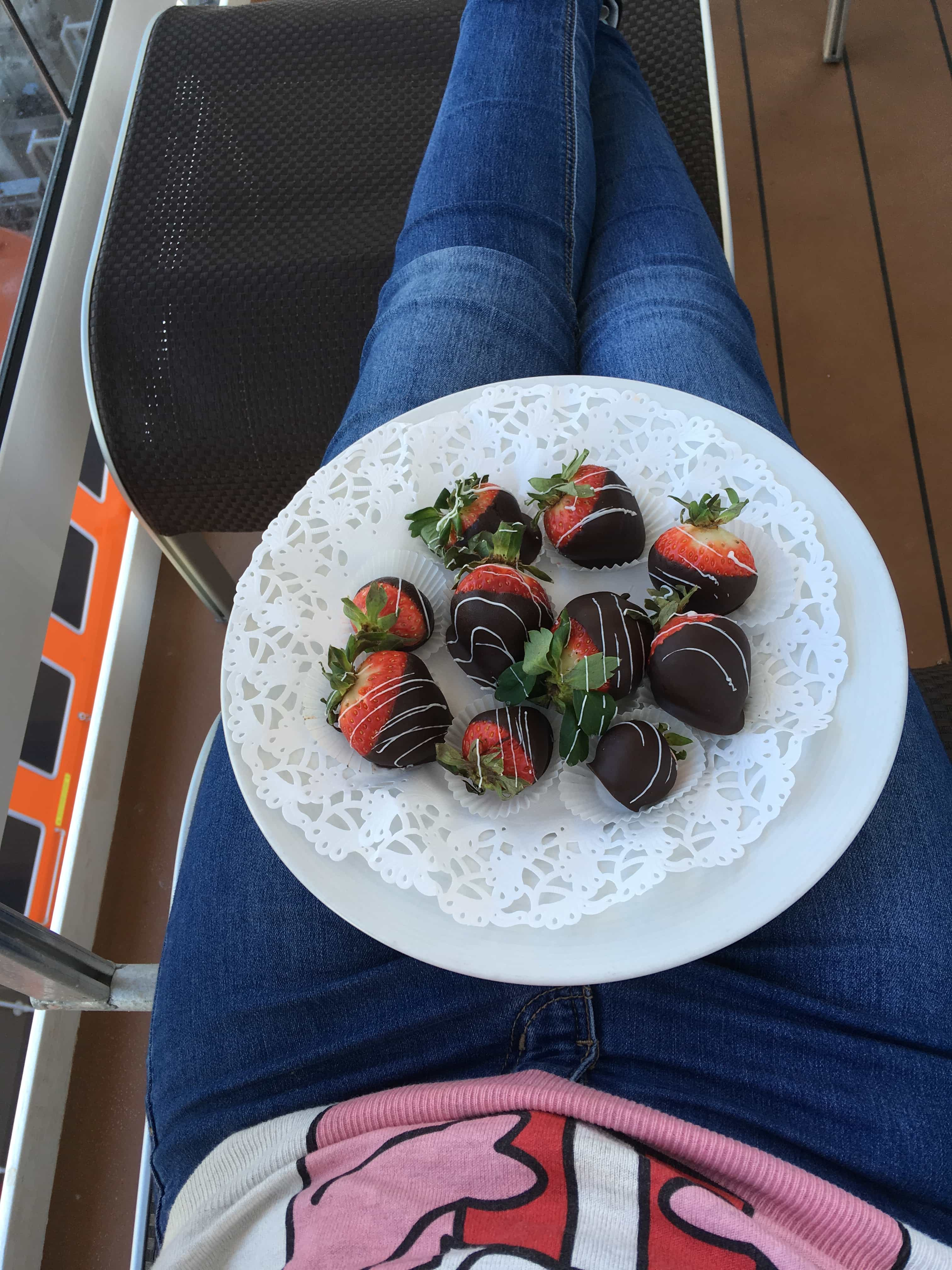 chocolate strawberries on the balcony! msc meraviglia christmas jumper