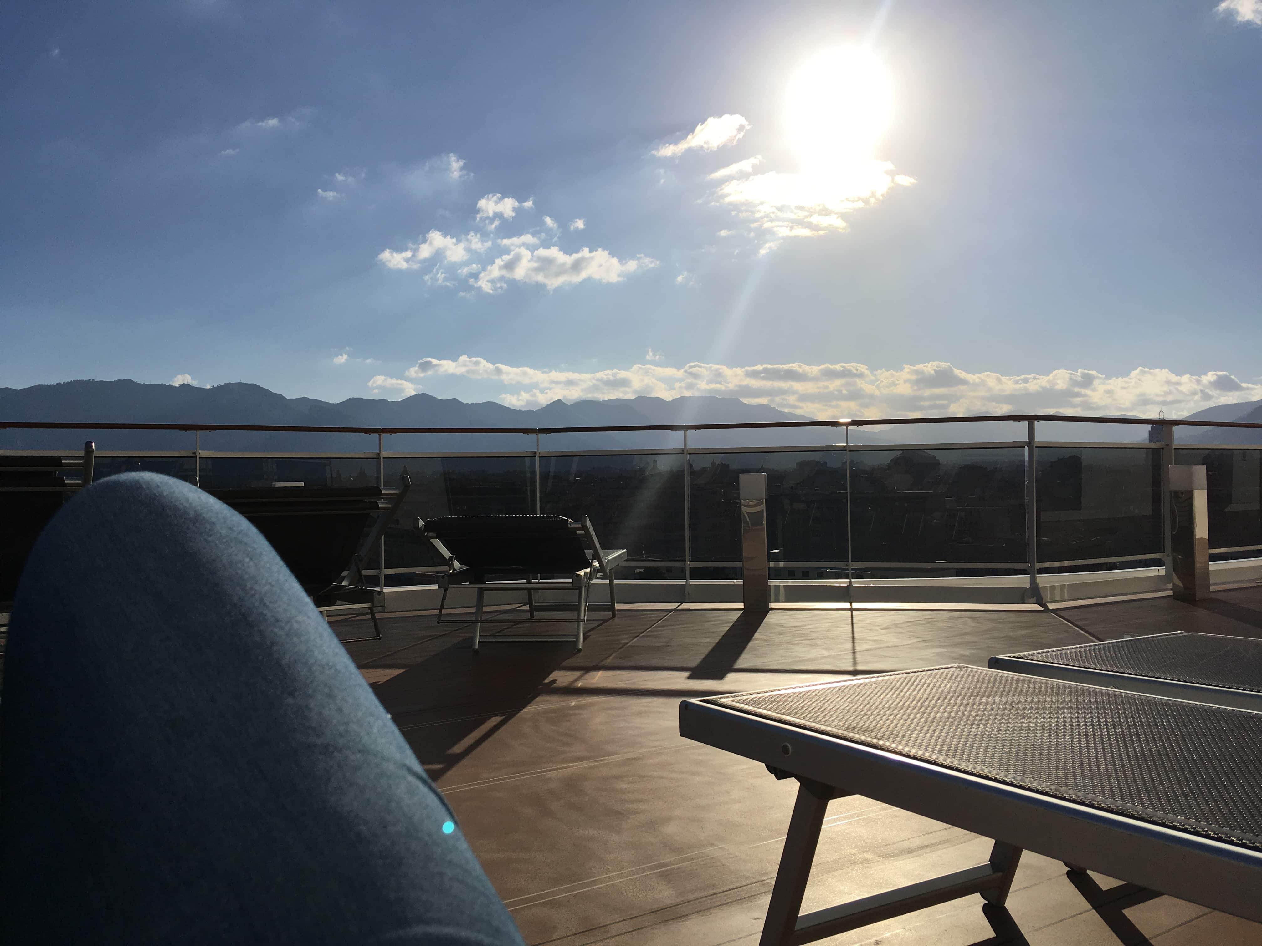 msc meraviglia sunbathing