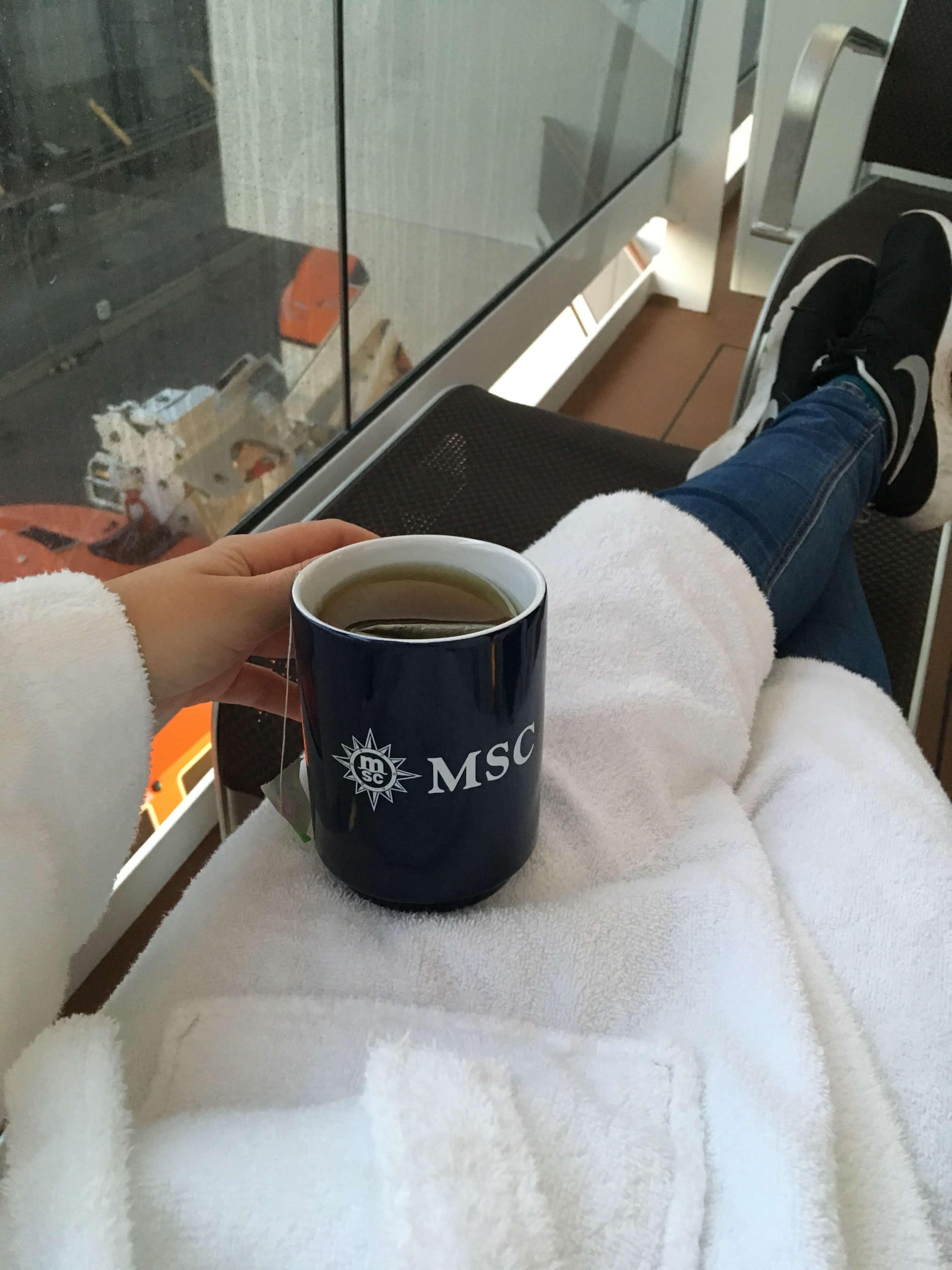 msc meraviglia tea on the balcony dressing gown bath robe