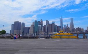 new york city sky line brooklyn bridge water taxi