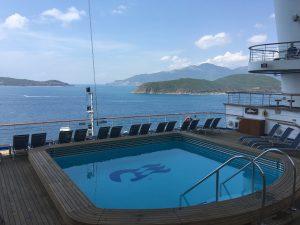 golden princess swimming pool blue skies taiwan