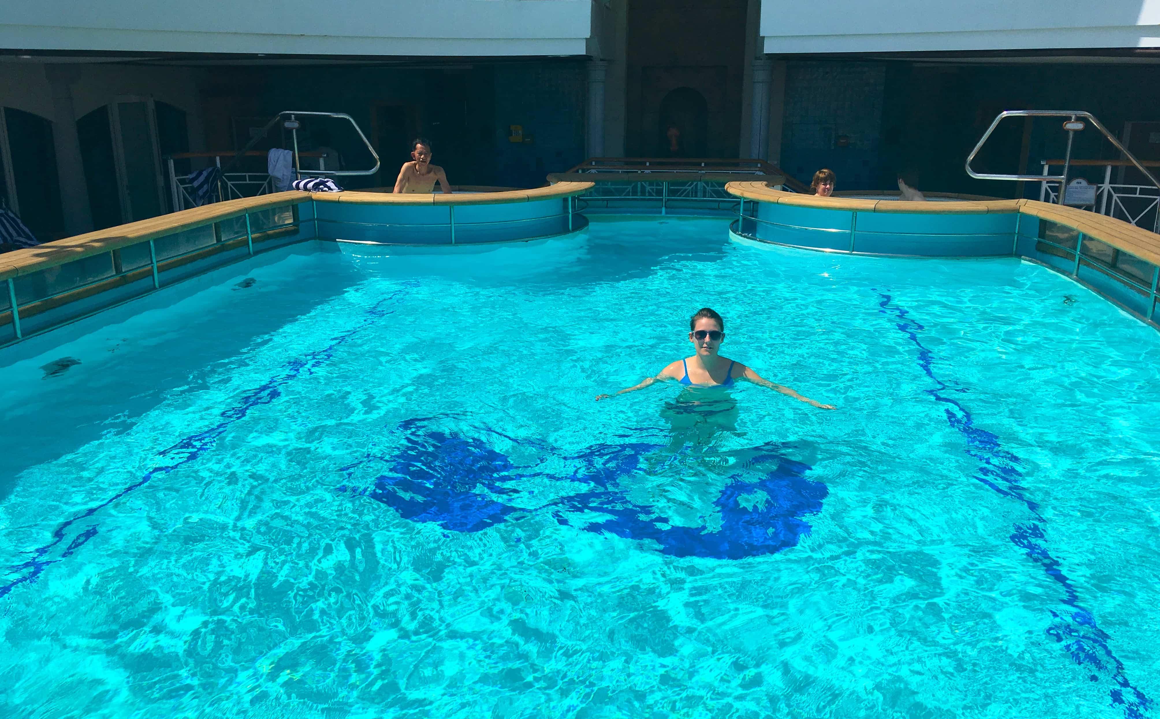 Girl in Golden Princess Swimming Pool
