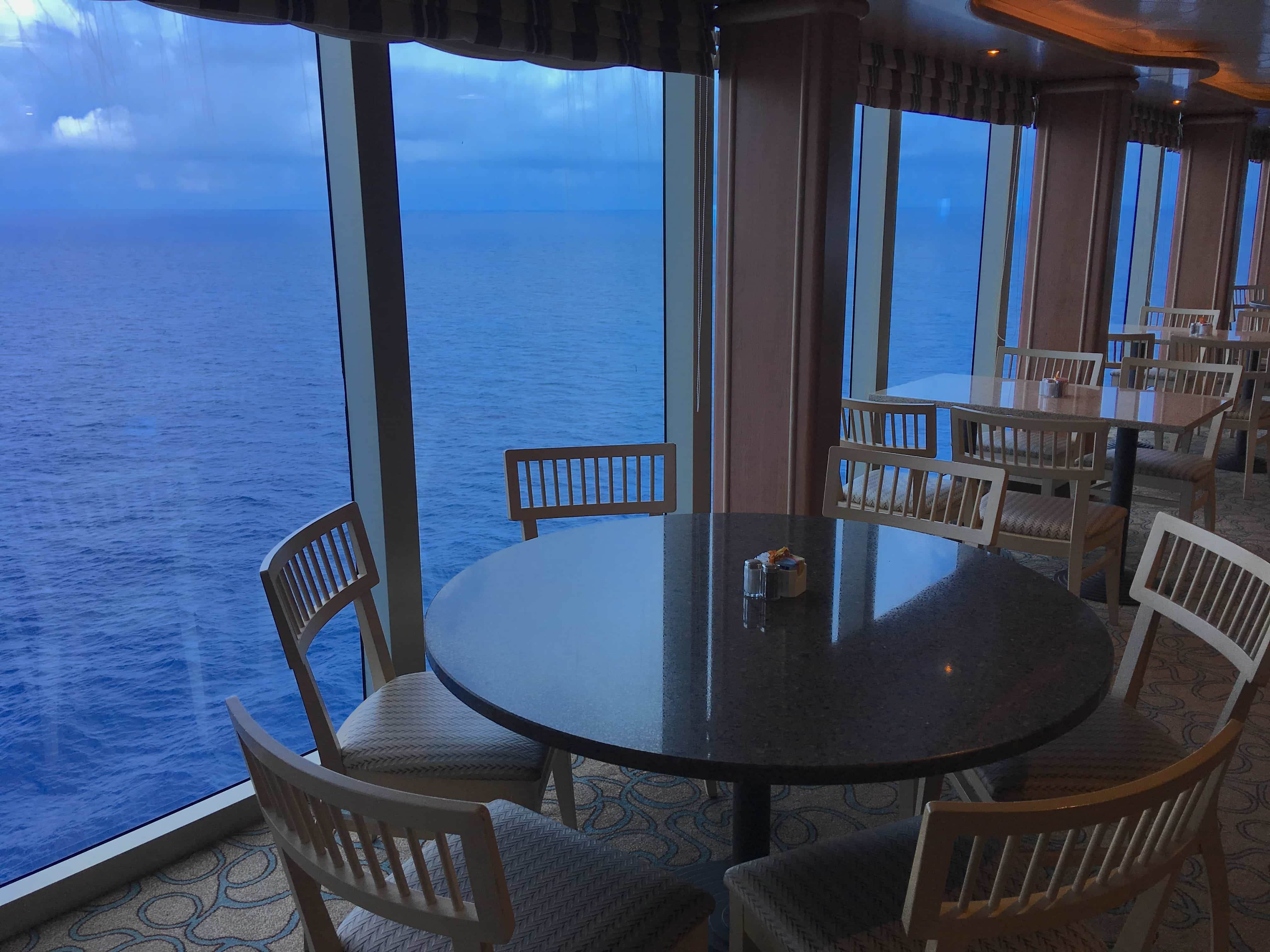 golden princess buffet tables chairs view of the ocean