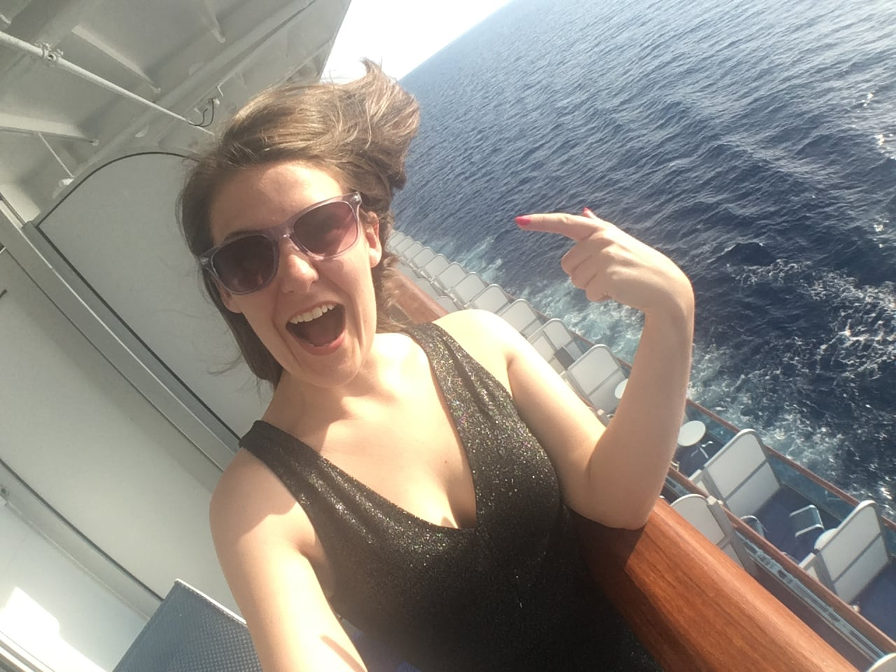 Golden Princess Balcony Cabin Tour Girl Happy Sunglass Cruise Hair Blowing in the wind