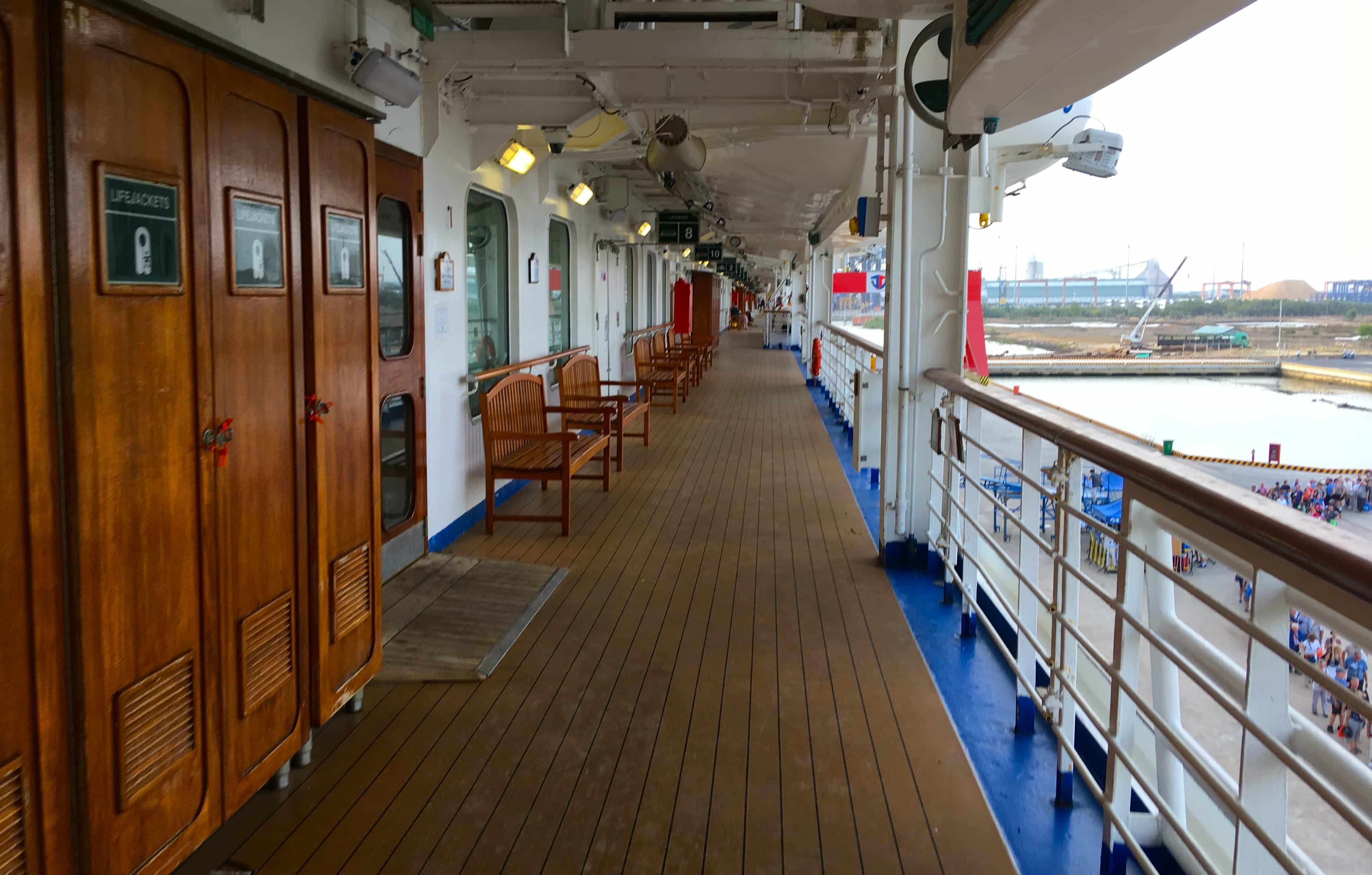 Golden Princess Empty Promenade Deck Cruise Ship Life Jackets Cupboard Railing
