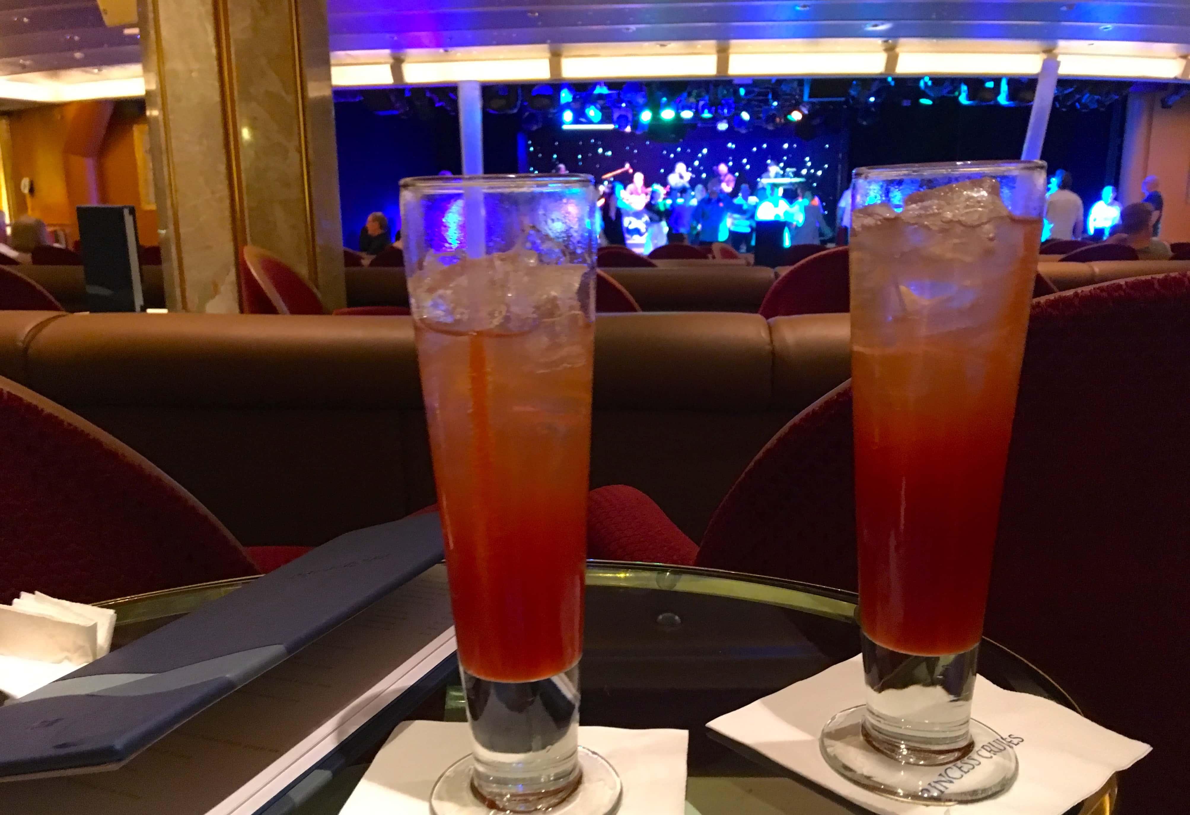 Vista Lounge Golden Princess Cruise Ship Drinks Cocktails 70s Disco