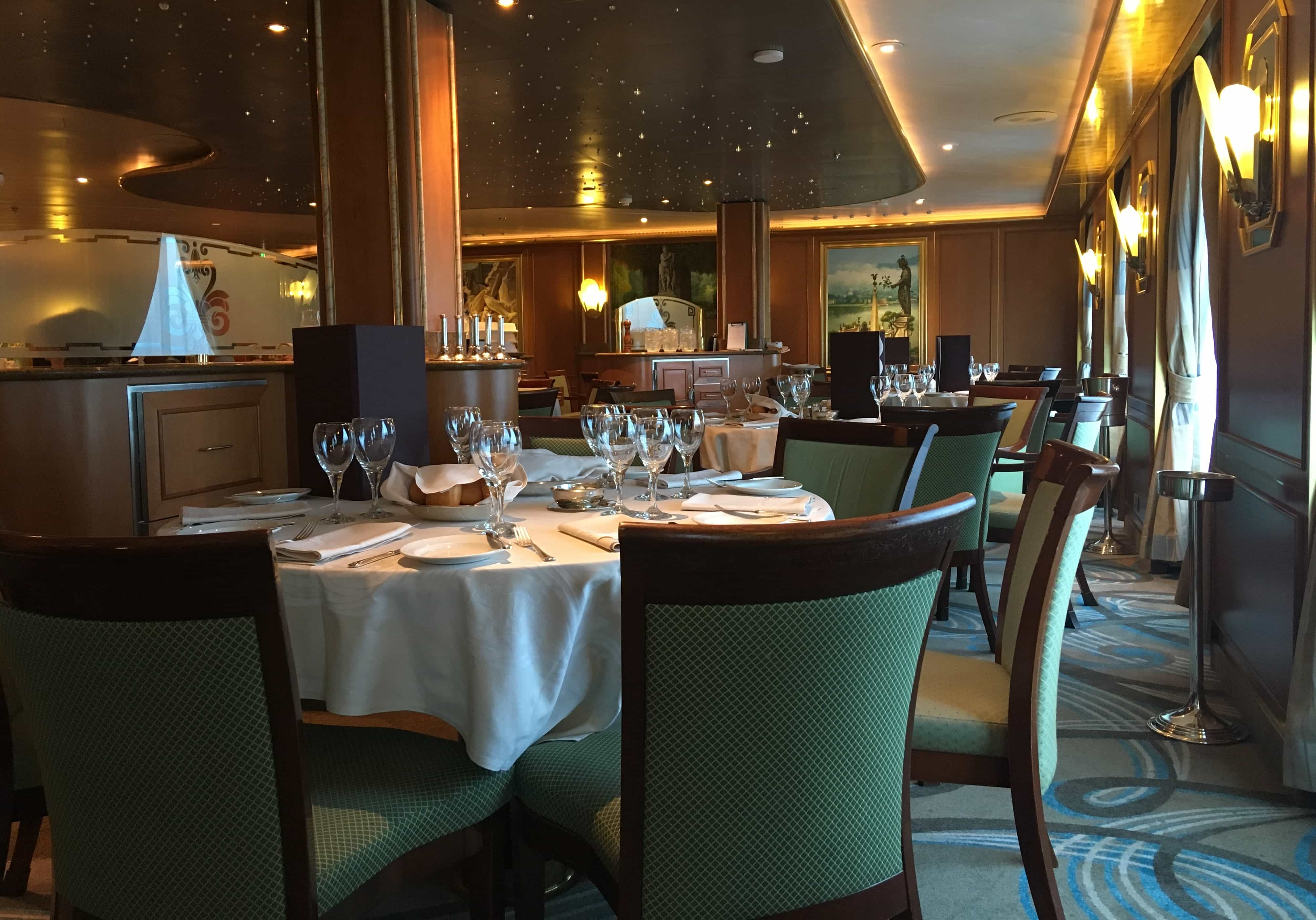 Golden Princess Bernini Dining Room Green Chairs Table Setting