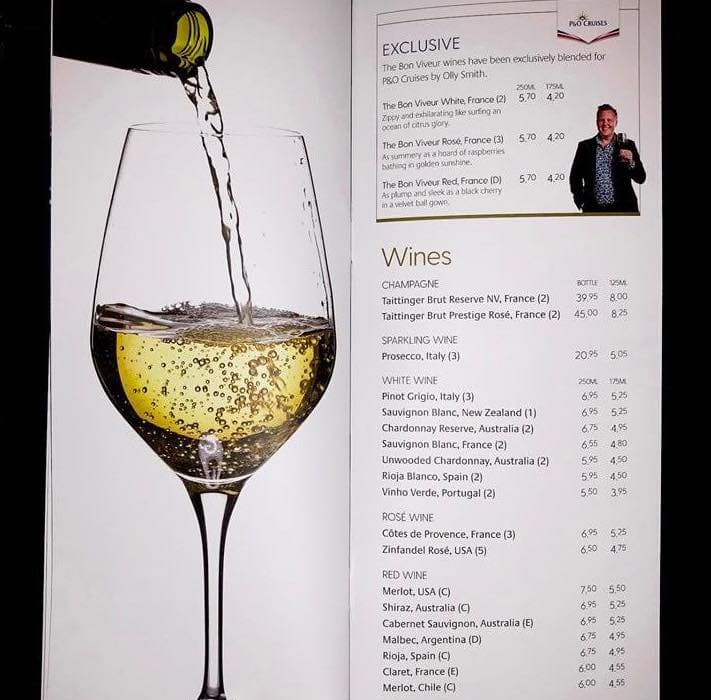 p&O cruises drinks menus wine
