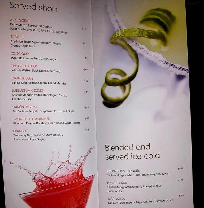 p&O cruises drinks menus cocktails