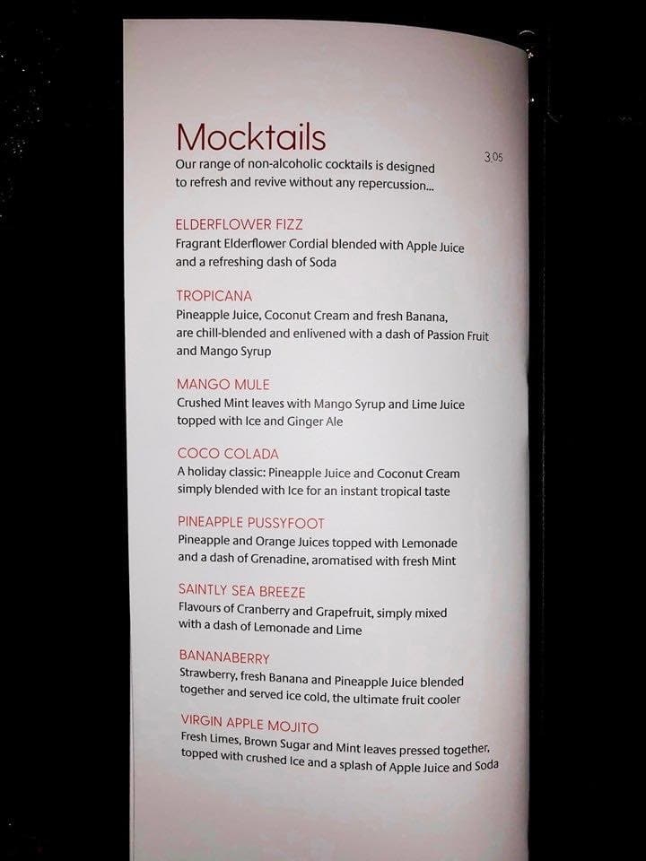 p&O cruises drinks menus mocktails