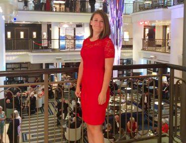 cunard dress code what to wear girl red midi dress