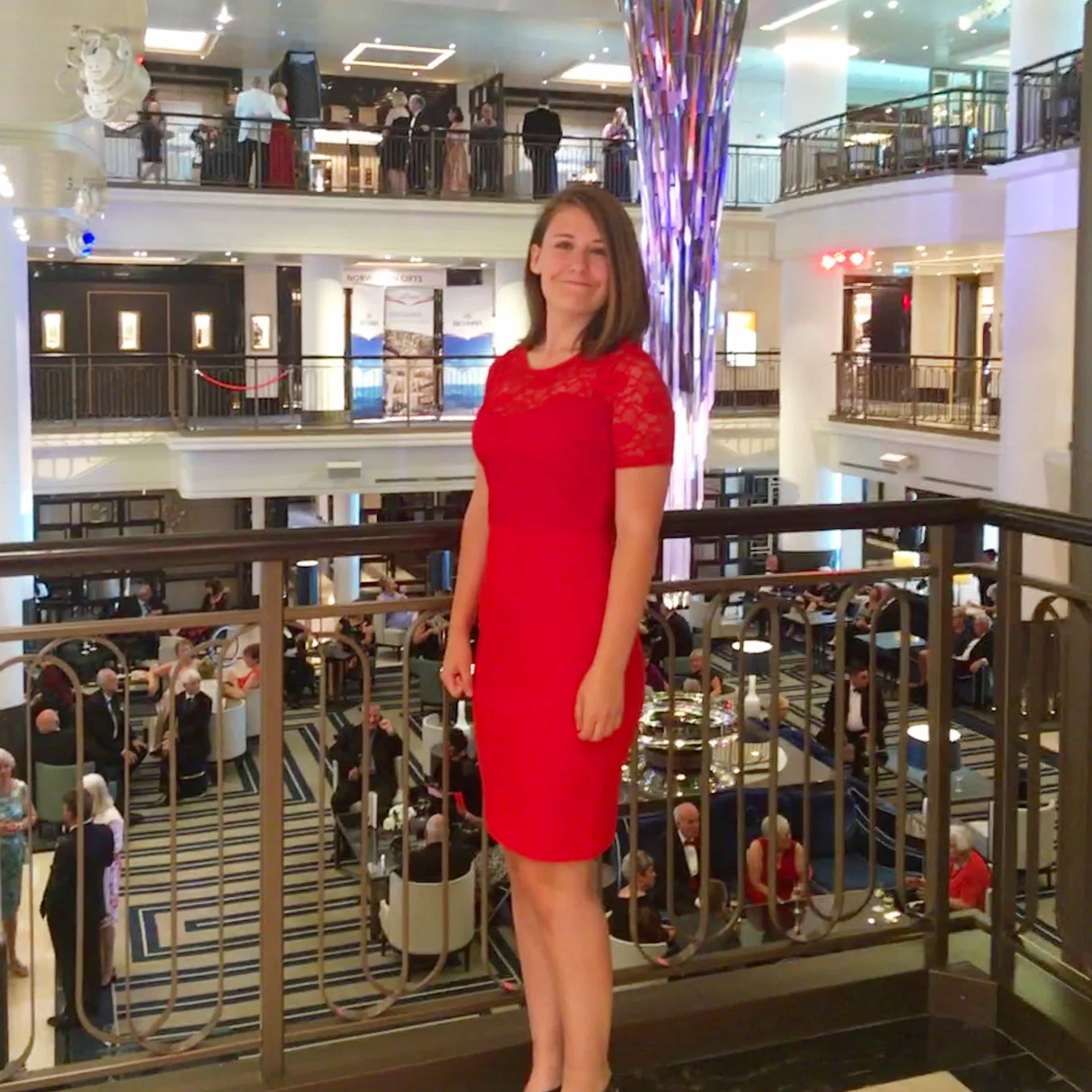 p&o formal night britannia atrium red dress