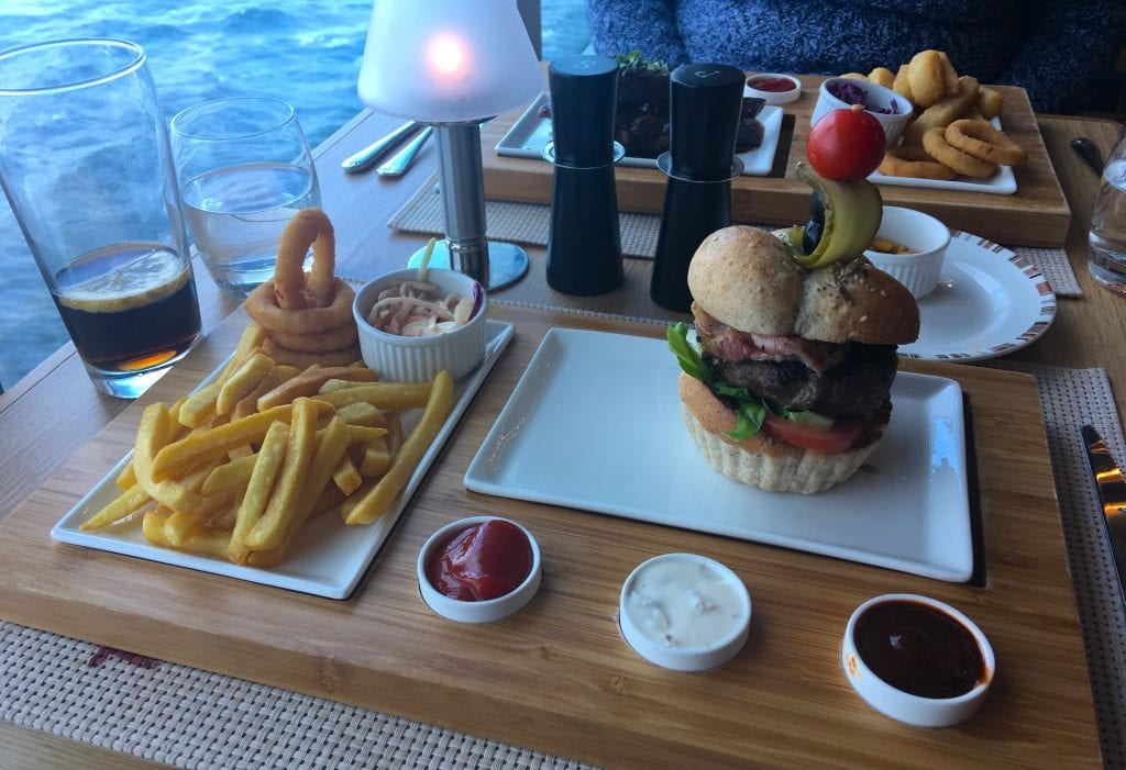 p&o britannia beach house food burger chips speciality restaurant