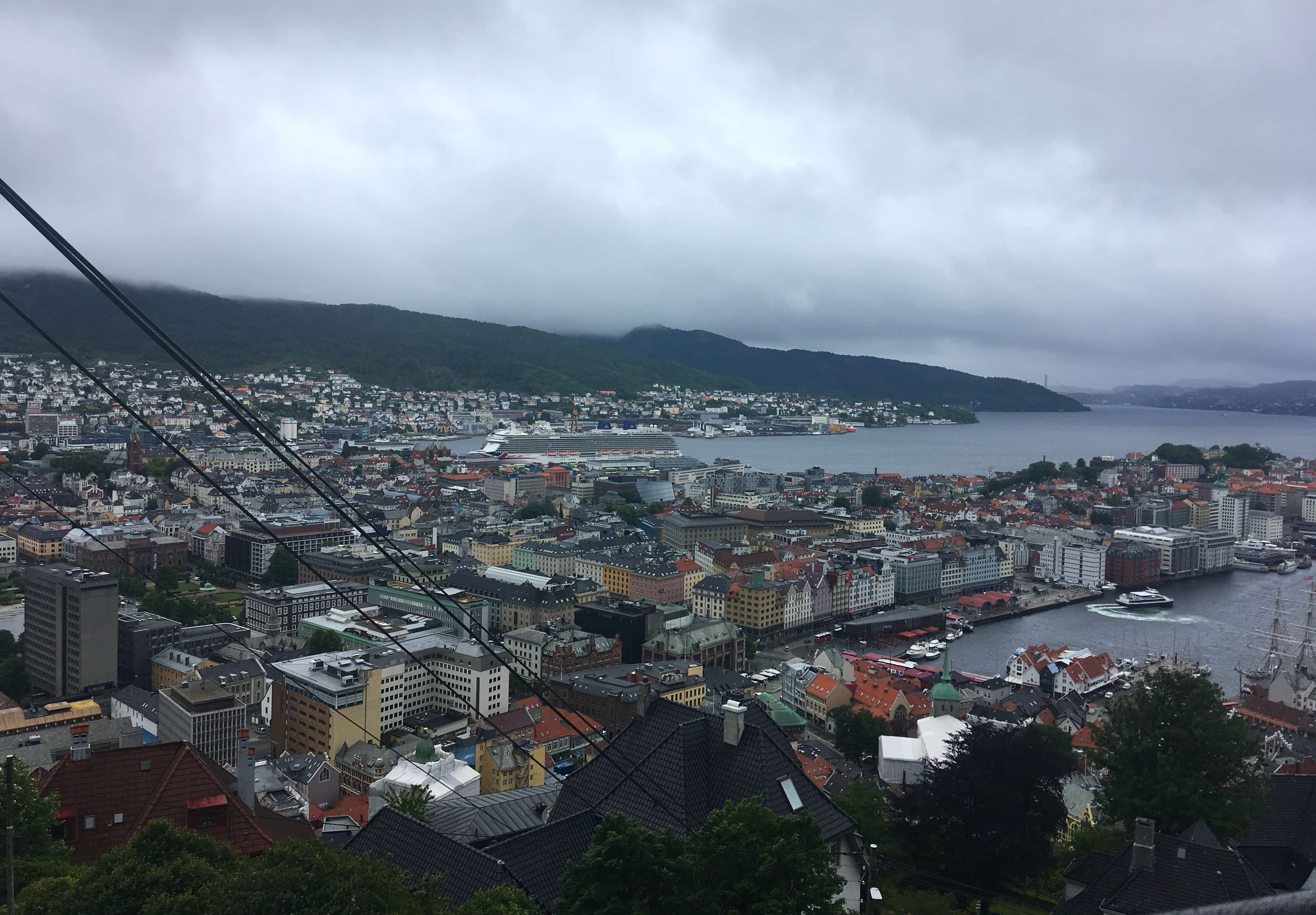 view from funicular railway in bergen walk down cable car