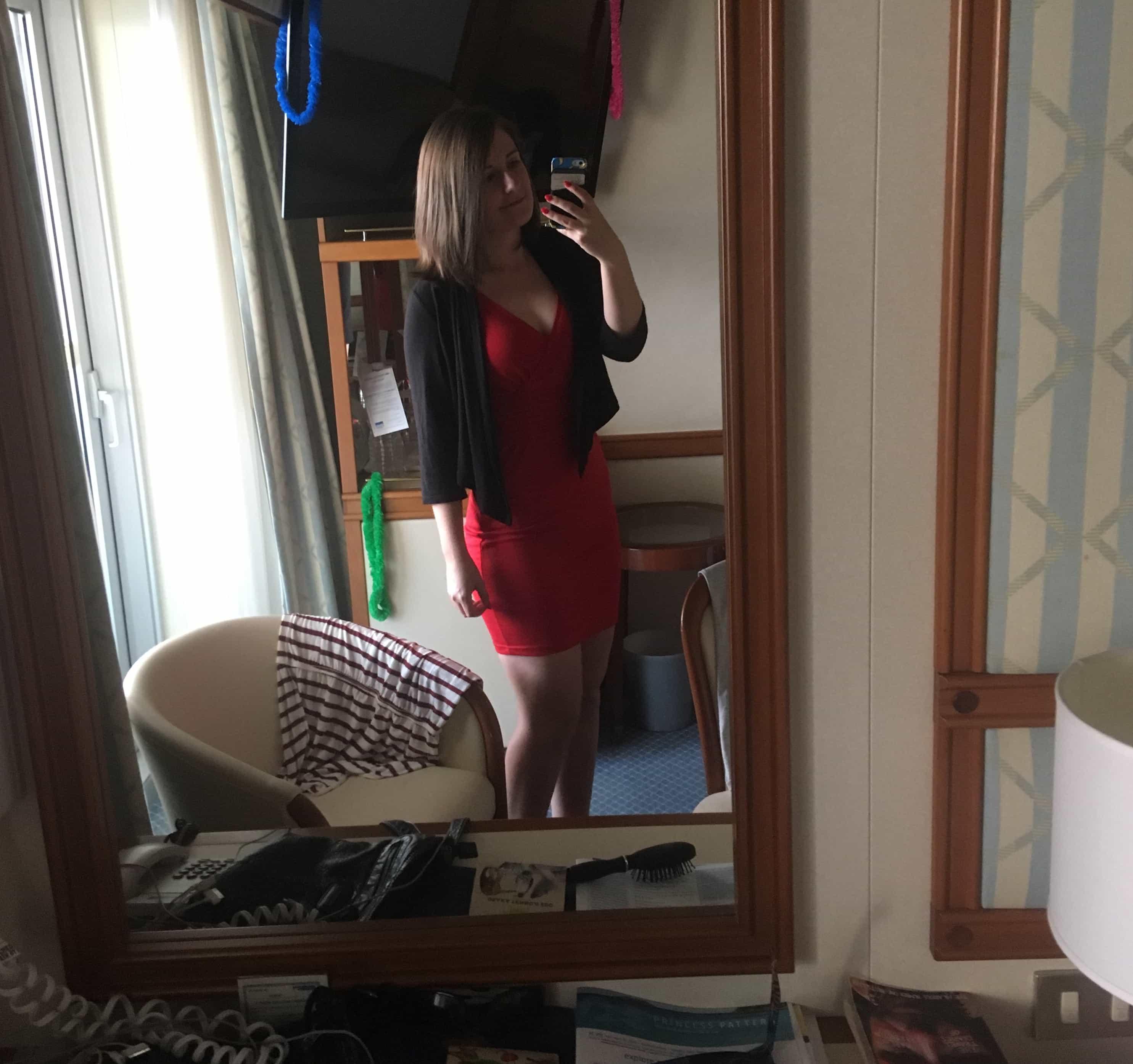 emma cruises golden princess red dress
