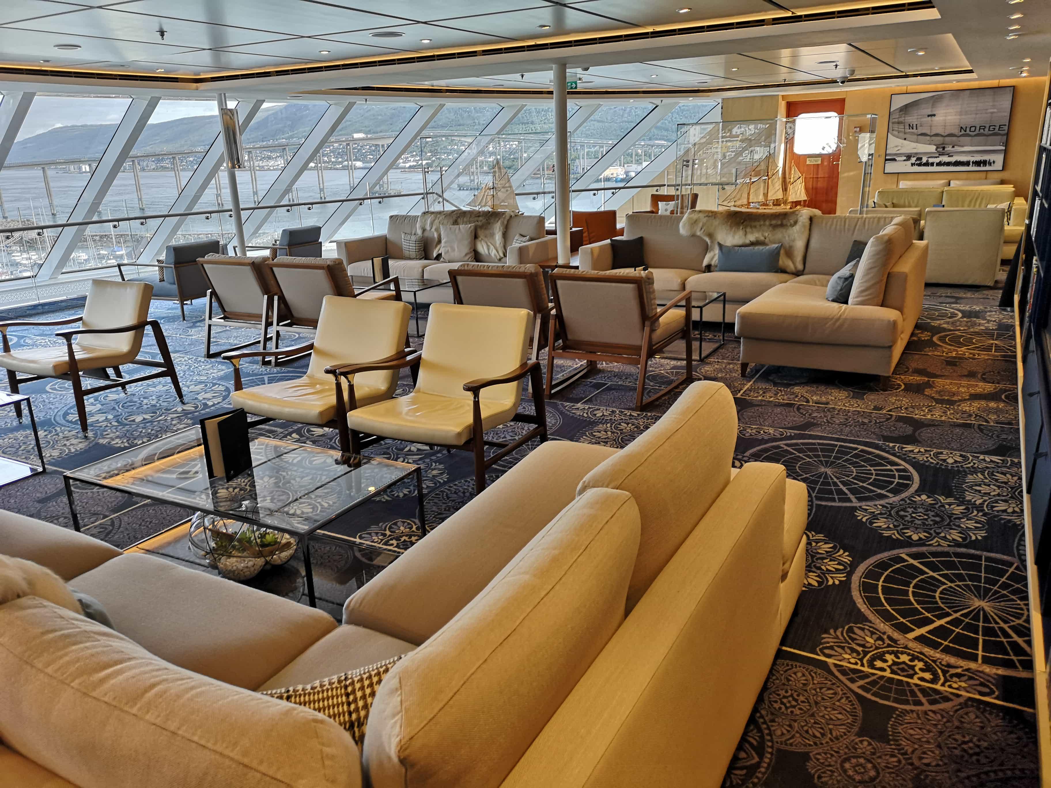 Viking Cruises Sea - Explorers Lounge Sofas Chairs Books