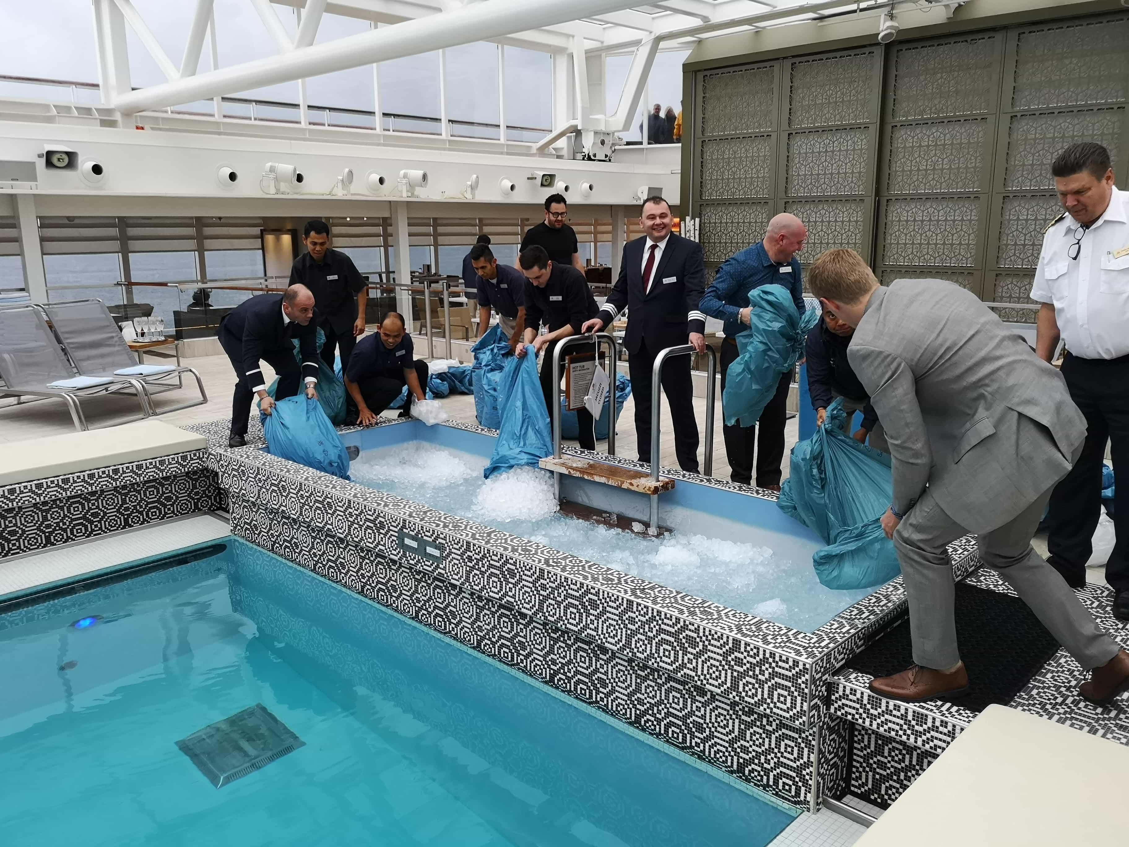 Viking Cruises Sea - Blue nose ceremony - Arctic circle - Ice in swimming pool