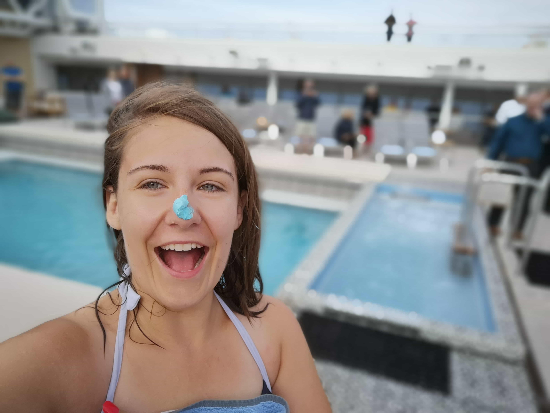 Viking Cruises Sea - Blue Nose Ceremony Arctic Circle Blue Cream on Nose girl happy