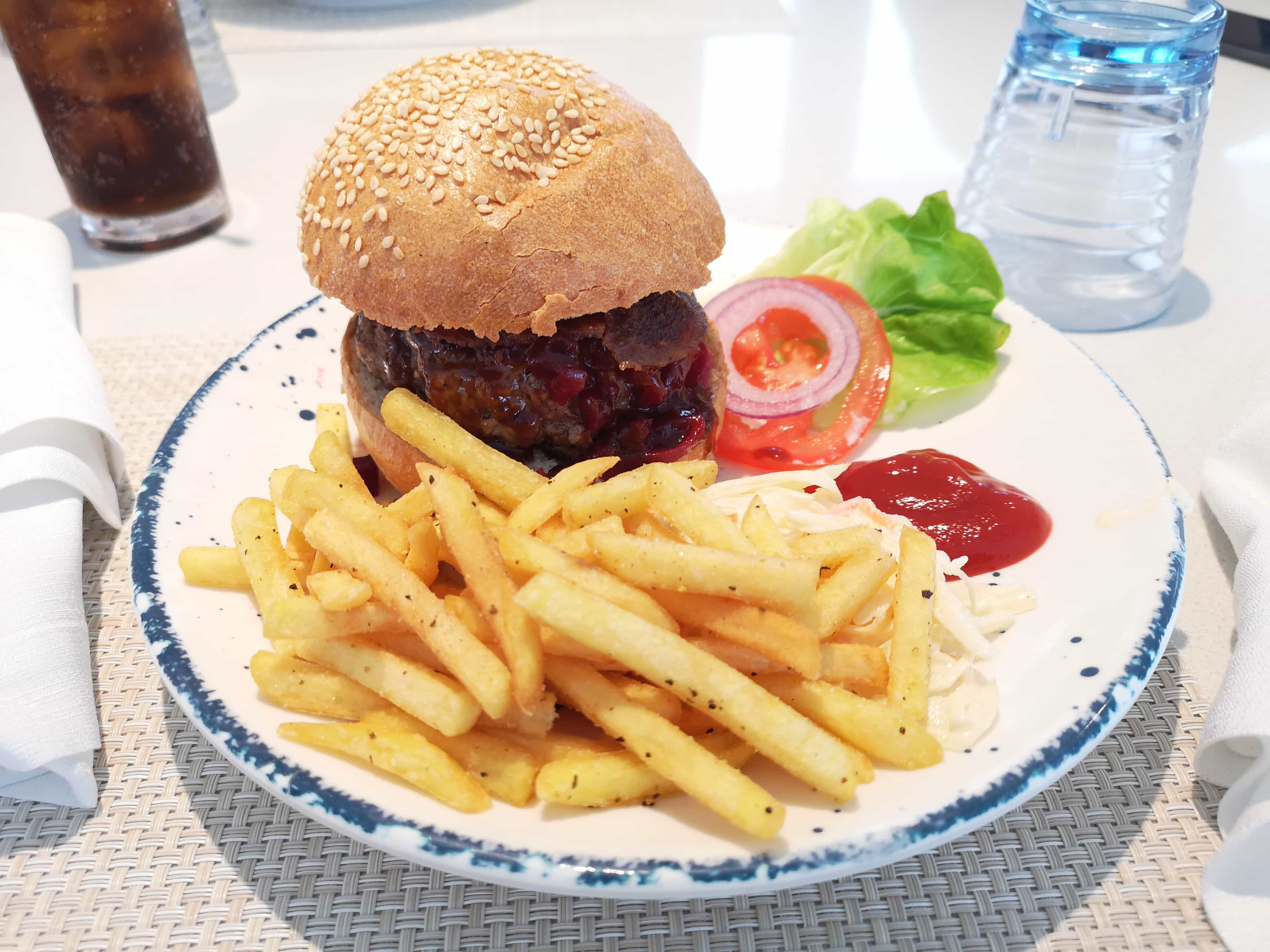 Viking Sea Cruises Pool Grill Food Burger Chips Coleslaw