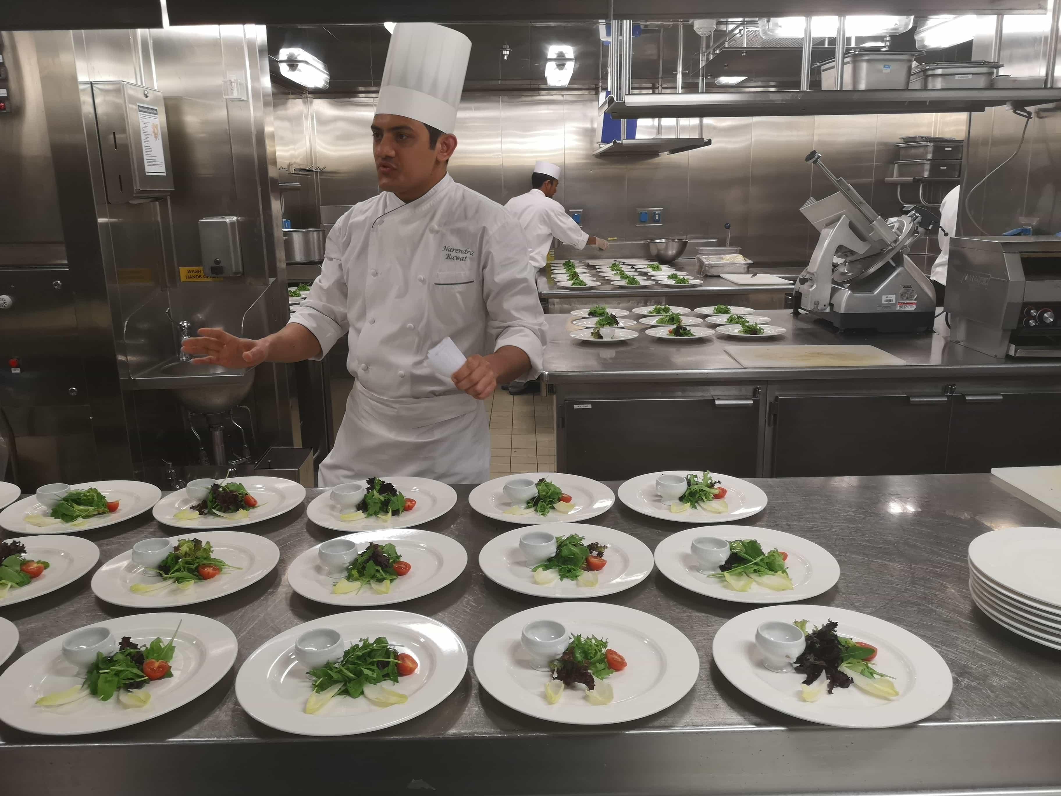 Viking Sea Galley Tour Kitchen Salad Chefs