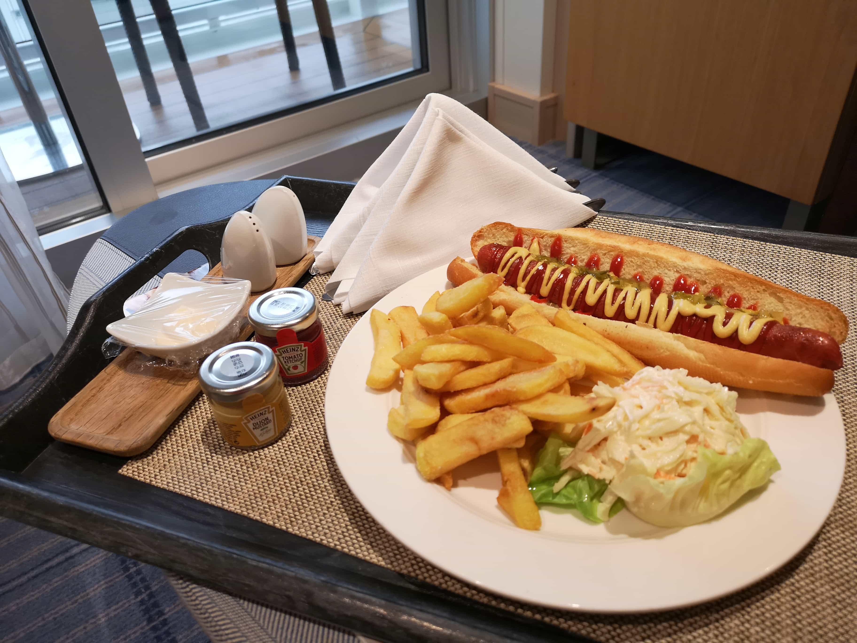 Viking Cruises Sea Room Service Hot Dog Burger Chips Coleslaw in Cabin