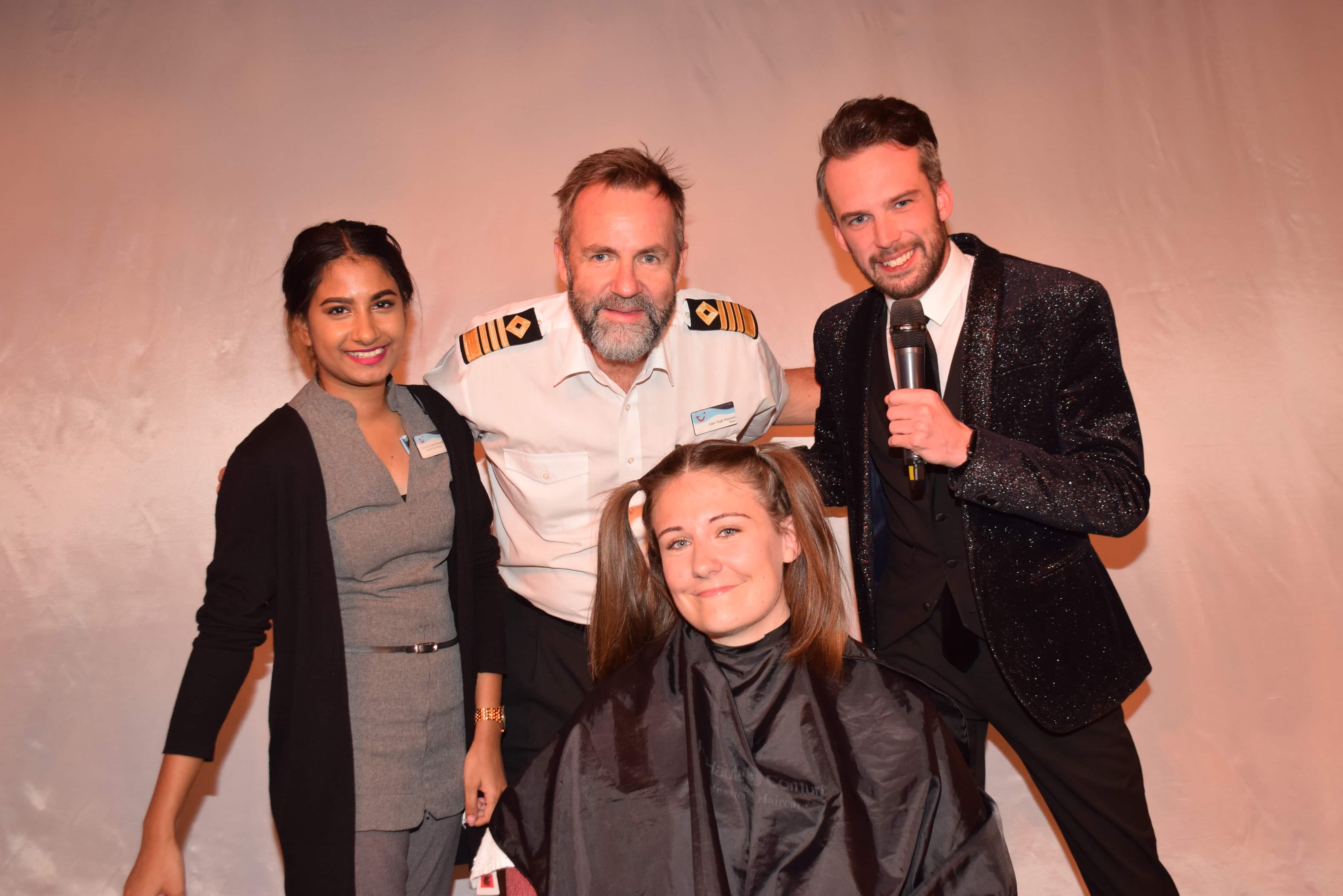 Emma Le Teace Brave the Shave Marella Discovery Cruise Director Adam Captain Hugh
