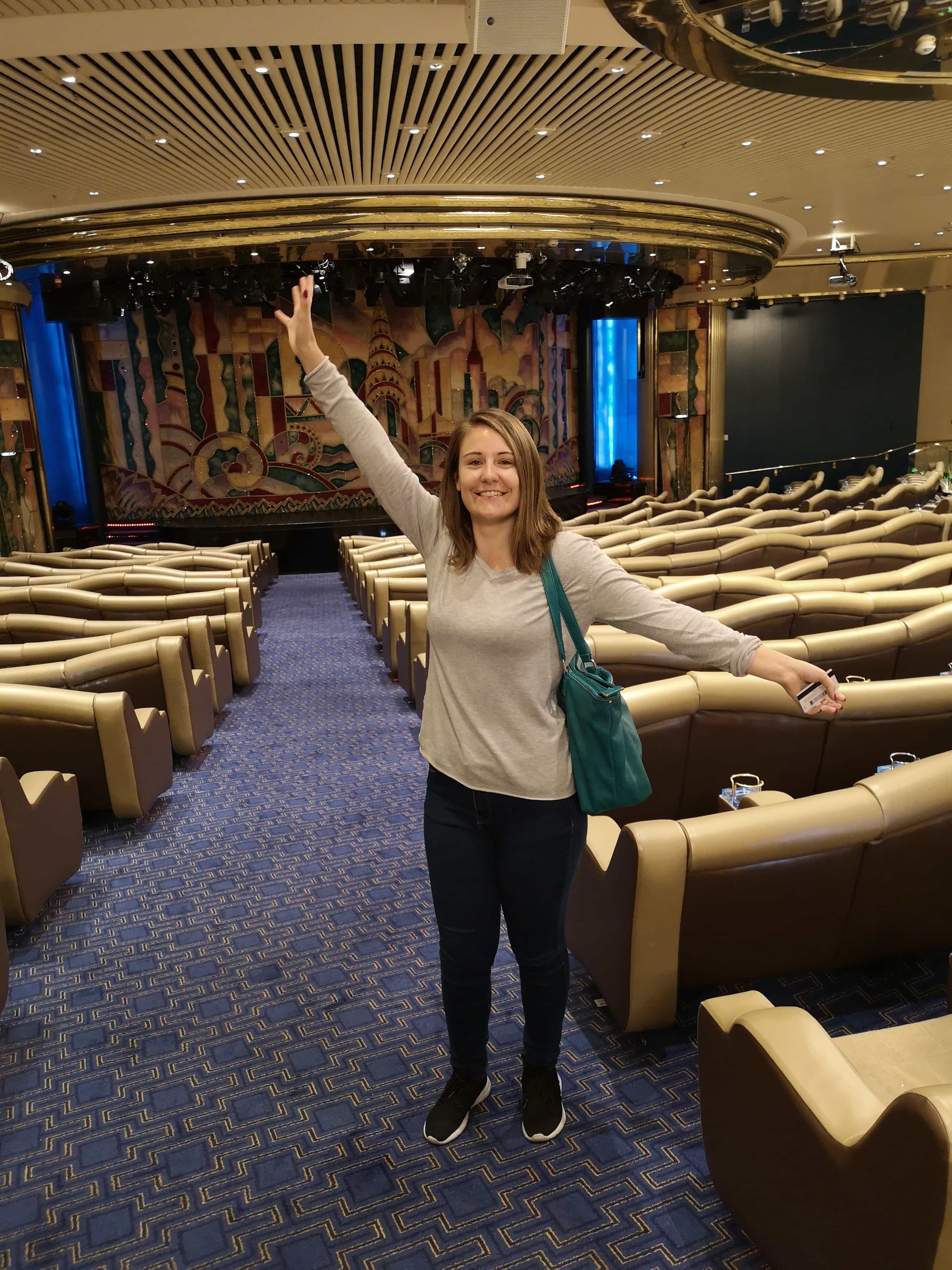 Marella Discovery Theatre Broadway Show lounge Girl Standing in Isle