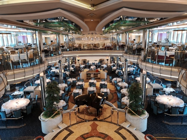 Marella Discovery Main Dining Room 47 degrees top level view piano restaurant