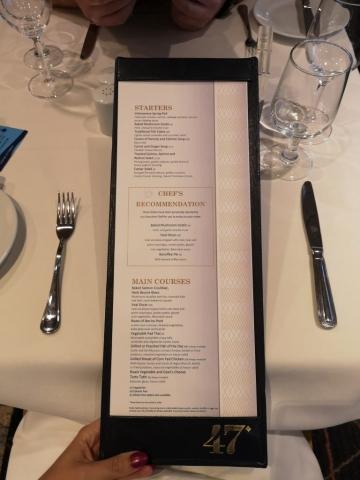 Marella Discovery Main Dining Room Menu 47 degrees